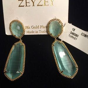 18 k gold plated aqua glass drop earrings Zey Zey